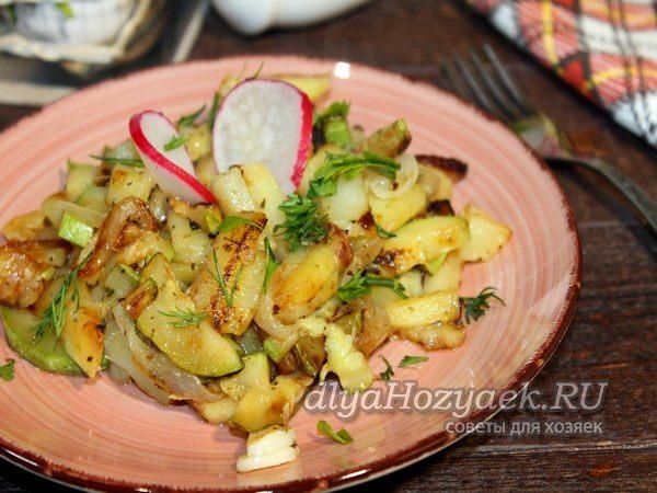 картофель жареный с кабачками