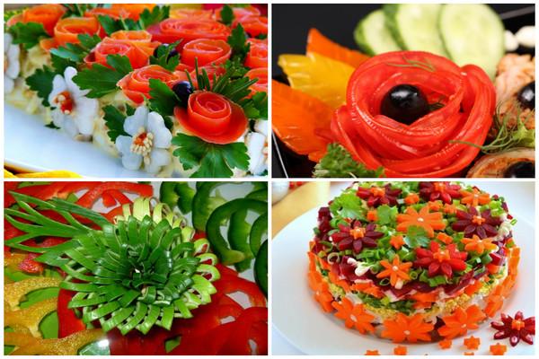варианты украшений салатов