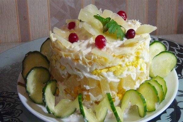 салат Нежность с ананасами